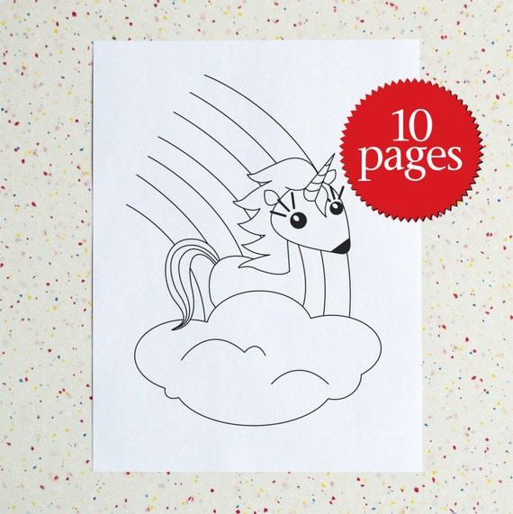 Rainbow Unicorn Colouring Pages Etsy