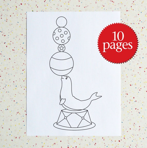 Circus Coloring Pages, Instant Download Colouring Book, Downloadable pdf  Coloring Book
