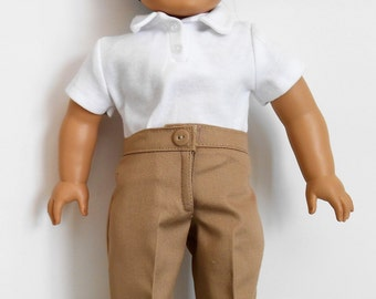 School uniform khaki pants with white knit polo shirt fits American Girl or boy