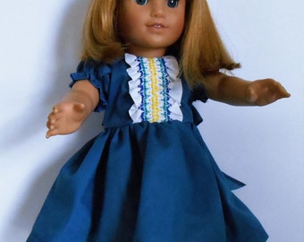 "Sale - Cobalt blue dress with smocked trim and puffed sleeves fits 18"" dolls like American Girl"