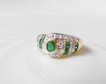 Emerald Diamond Ring 18K Yellow White Gold Vtg 750 Green Clear Gemstone April May Birthstone Statement Estate Fine Jewelry