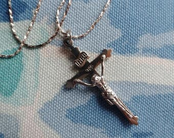Silver Crucifix Pendant Chain 925 Cross Necklace Vintage Jewelry