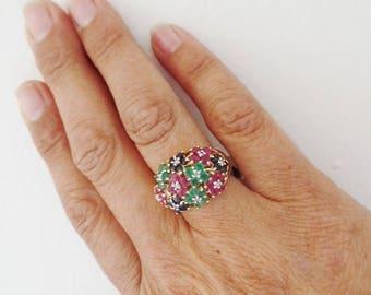 14K Gemstone Flower Ring Multi Colored Sapphire Ruby Emerald Diamond Yellow Gold Estate Fine Jewelry Size 7 Retro Modern Cocktail Statement