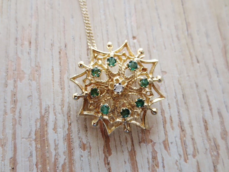 f41602a4df351 Emerald Necklace Diamond 14K Gold Brooch Pendant Pin Chain Yellow Gold  Green Clear Gemstone Heirloom Fine Jewelry