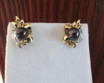 Black Pearl Earrings Diamond 14K Yellow Gold Stud Luxury Estate Fine Jewelry
