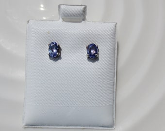 TANZANITE Sterling Silver Stud Earrings Oval .95 ctw Post Clutch Small 925 Gemstone NOS  Vintage Jewelry
