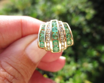 Vintage Slide Pendant Emerald Diamond 14K Yellow Gold Retro Estate Luxury Fine Jewelry 585 Genuine Gemstones