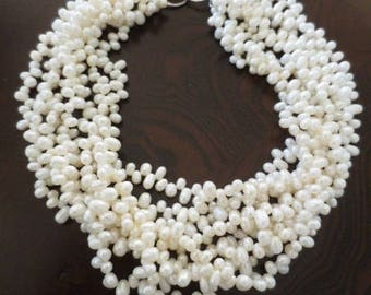 """Multi Strand Pearl Necklace Off White 16"""" Long Coastal Jewelry"""