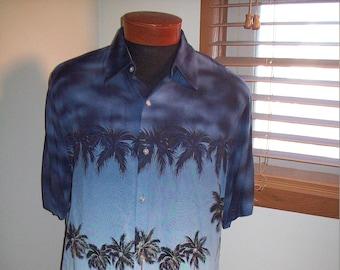 a7cc1d10f Vintage 80s 90s Palm Tree Pineapple Print Hawaiian Aloha Shirt / Mod VLV  Rockabilly Surfer Tiki Bar Luau Hukilau Cabana Festival Sz XL