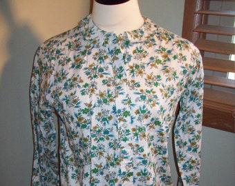b0f7b54cd1 Vintage 50s 60s HyanniSport verde blu tan Spring Flower Stampa floreale  Womens camicia top/VLV Rockabilly mod manica lunga camicetta SZ 16-36