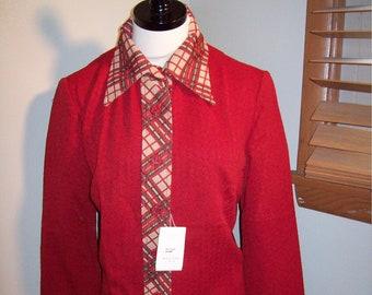3d591fabcd9 NOS Vintage 60s 70s Rust Colored Plaid Accent 2 Piece Jacket Pants Womens  Suit   Size 14   Marcia Brady Bunch Outfit Leisure Suit