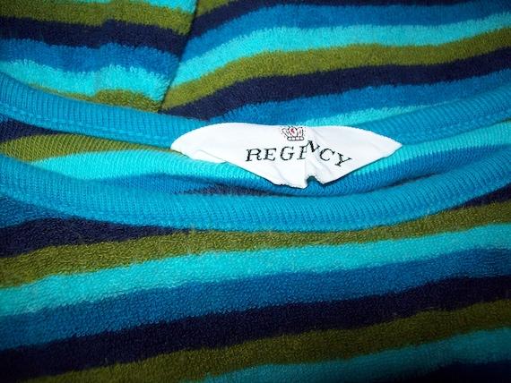 Original Vintage 50s 60s Blue Green Striped Sleev… - image 4