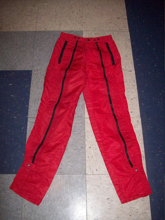 Original Vintage 80s Bugle Boy Red Black Zipper Pa