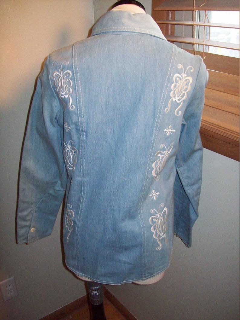 Vintage 60s 70s Light Blue Jean Denim Jeans Jacket Pants Suit Embroidered Butterfly Print  Groovy Retro Mod Hippie Hipster Disco Festival