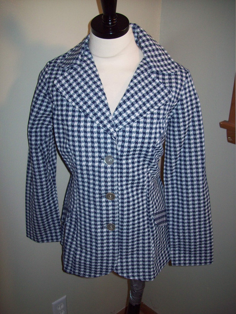 Vintage 60s 70s Navy Blue White Houndstooth Blazer Suit Jacket Top  Retro Preppy Office Coat Hipster Chic Marcia Brady Bunch Leisure Suit