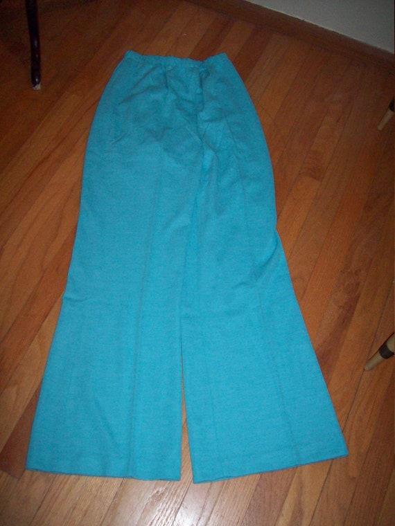 Vintage 60s 70s Robins Egg Pastel Blue 2 Piece Jacket Pant Womens Suit  Groovy Retro Marcia Brady Bunch Outfit Leisure Suit Size 14