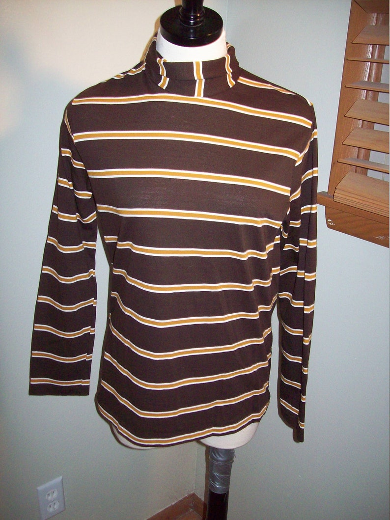 dfeea7bf7662 Vintage 60s 70s Brown Tan Striped Long Sleeve Turtle Neck T | Etsy