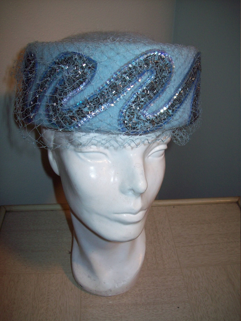 Vintage 50s 60s Powder Blue Pill Box Hat  Amazing Sequin Bead Accent  Mod Rockabilly Pin Up Burlesque Costume  Mad Men Party  Jackie O