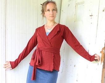 Belted Hemp Wrap Jacket - Organic Fabric- Hemp Organic Cotton Stretch Jersey - 9 Colors to Choose From - Eco Fashion - Boho Chic - Cardigan