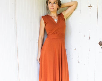 Rhiannon Wrap Dress - Mid Length - Organic Clothing Made to Order - Many Colors