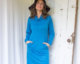 Natasha - 100% Merino Wool Lightweight Sweaterdress w/ Kangaroo Pocket & Cowl  - Choose Your Color - Made to Order in the USA by Rowan Grey