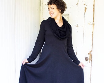 SAMPLE SALE - Size M - Black - As Pictured - Organic French Terry Cowl Neck Dress - Organic Cotton, Hemp & Bamboo - Ready to Ship from USA