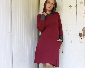 READY To SHIP - Sizes XS, S, M, L  - Organic Cotton Blend Hooded Dress with Pockets - Available in Red, Olive Green or Purple - Fall Winter
