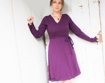 Long Sleeve West Coast Wrap Dress - Organic Cotton & Bamboo - Made to Order - Choose Your Color - Eco Fashion - Lightweight Jersey Knit
