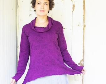 Clara Top ~ Organic Hemp Swallowtail Cowl Neck Shirt - Made to Order - Choose Your Color + Size - Long Sleeve - Hemp & Organic Cotton Knit