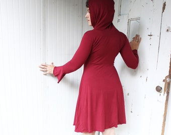Tiger Lily Hooded Dress - Organic Cotton & Bamboo Lightweight Jersey - Made to Order - Choose Your Size + Color - Fit and Flair - Boho Chic