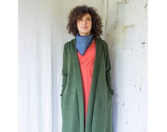 Denali Duster Cardigan -  Hemp + Organic Cotton Fleece Open Jacket with Side Pockets - Robe - Made to Order in USA - Eco Fashion - Boho Chic