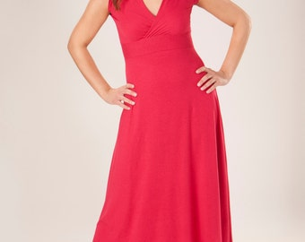 3aefc8b51fd2 Sleeveless V-Neck Maxi Dress (Soy or Bamboo Organic Cotton Jersey) Many  Colors to Choose From