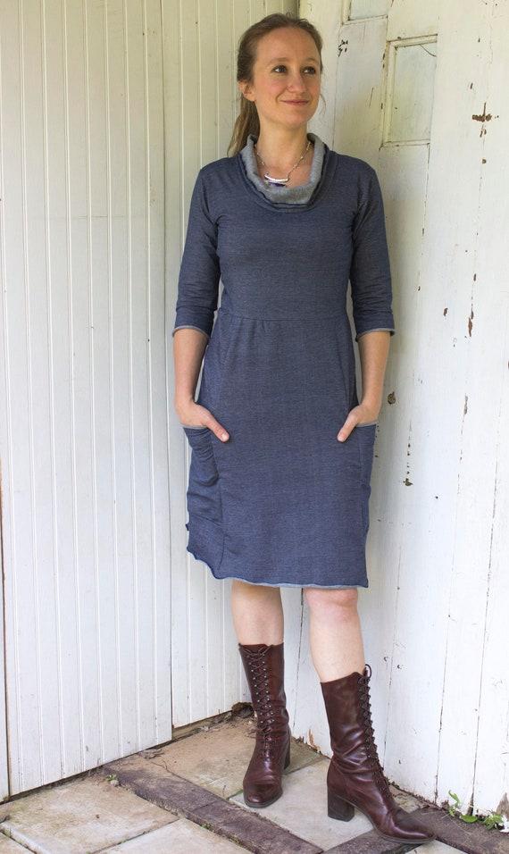 SAMPLE SALE Florence Passport Pocket Cowl Neck Dress Sizes XS Ready to Ship Organic Cotton Knit Stretch Denim 34 Sleeves 2XL