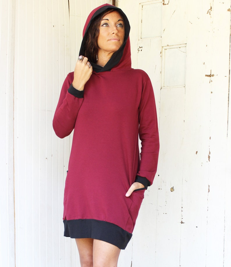 Red Wine Color SAMPLE SALE Ready to Ship Handmade in U.S.A. Passport Pocket Hoodie Organic Fabric Eco Fashion Size Small