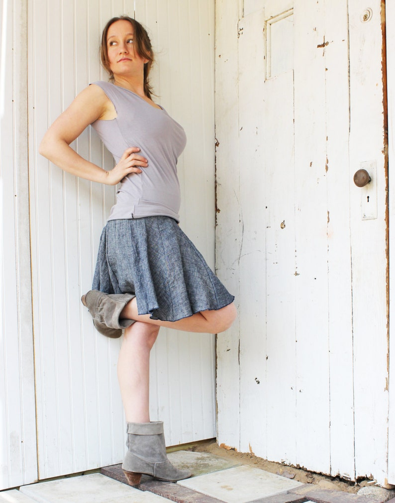 cb85c4bba Organic Denim Skater Skirt Mini Skirt Hemp and Organic | Etsy