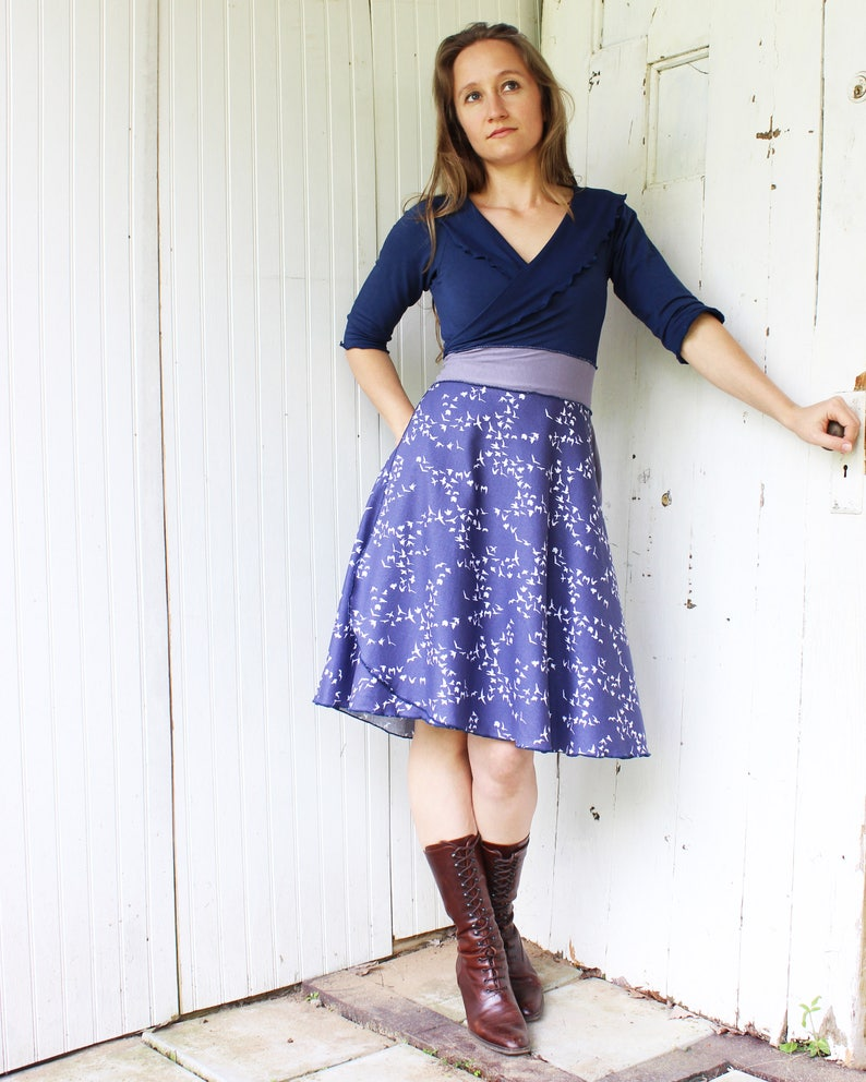 17eec04901b33a Songbird 3/4 Sleeve Wrap Dress Organic Cotton Made to | Etsy