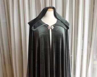 Moss green velvet cloak - full oval - YOUR LENGTH