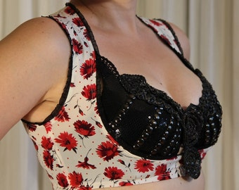 Underbust stretch vest - YOUR SIZE - red flowers print