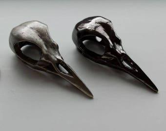 WHOLESALE Bird skull button - silver or black - wholesale price