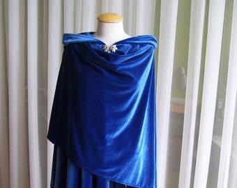 Royal blue velvet cloak - full oval - YOUR LENGTH