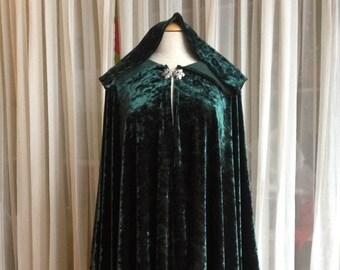 Forest green velvet cloak - full oval - YOUR LENGTH