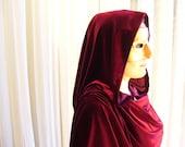 Wine velvet cloak - full oval - YOUR LENGTH