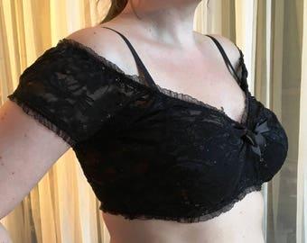 Burlesque blouse - black sequin lace - YOUR SIZE