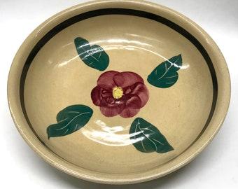 "Watt Pottery U.S.A., Oven Ware, 11"" Serving Bowl, Rio Rose pattern c. 1950's"
