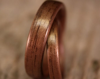 SPECIAL PRICE!  Bentwood Ring Pair - Walnut Wooden Ring Set - Handcrafted Wood Wedding Rings - Custom Made