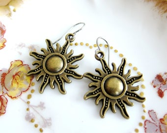 Starburst Sun Charm Earrings Bronze Metal Mix