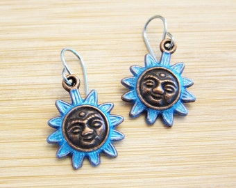 Mayan Sun Charm Earrings Hand Painted 3 Color Choices