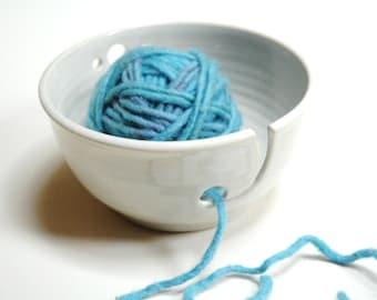 Pottery yarn bowl,knitting supply,knitting accessory,white stoneware bowl,Wheel thrown bowl,white yarn bowl, ceramic yarn bowl