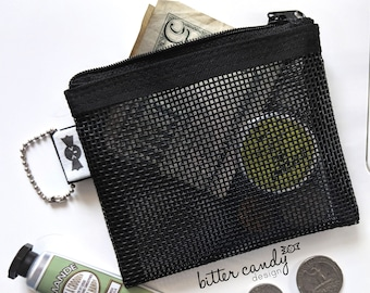 The Mini - Black Mesh Mini Wallet, Pouch