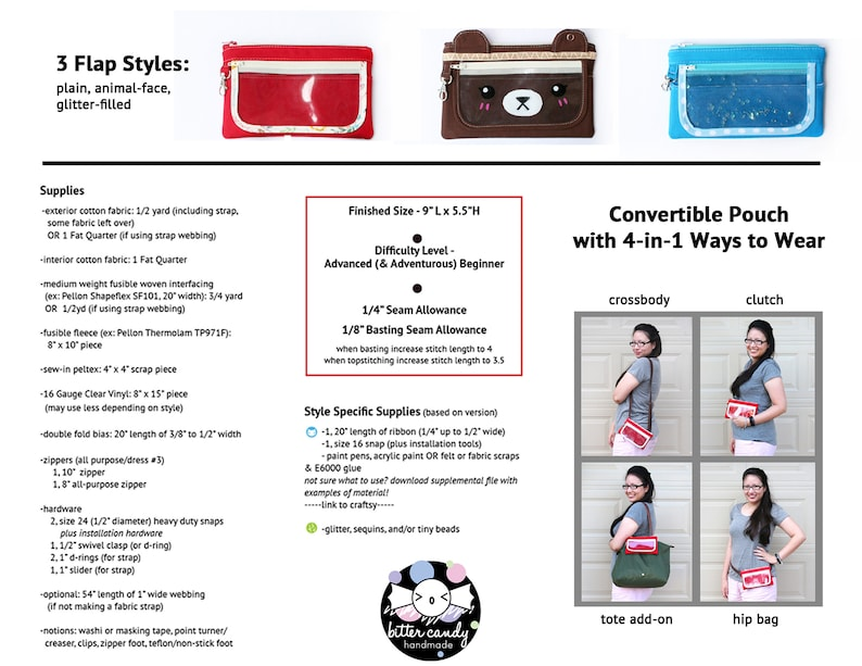 Flaptastic 4-in-1 Pouch **PDF Sewing Pattern** -Instant Download- clutch,  crossbody, fanny pack, organizer